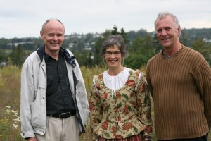 L-R Dr. Doug Sobey, Yvette Murphy (in Acadian dress) & Georges Arsenault